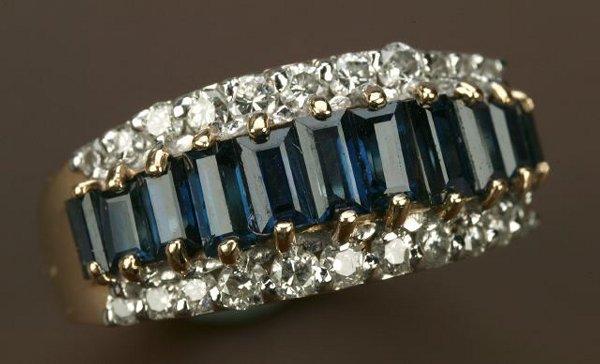 723: A 14K YELLOW GOLD, SAPPHIRE AND DIAMOND