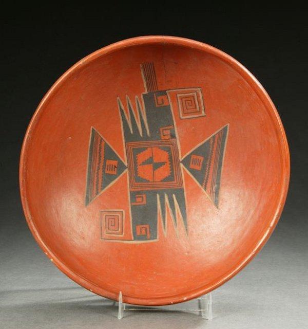 5: A NATIVE AMERICAN HOPI-TWA POTTERY RED-SLIPPED SHALL