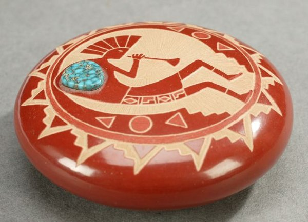 8: A NATIVE AMERICAN MINIATURE CARVED RED POTTERY GEM,