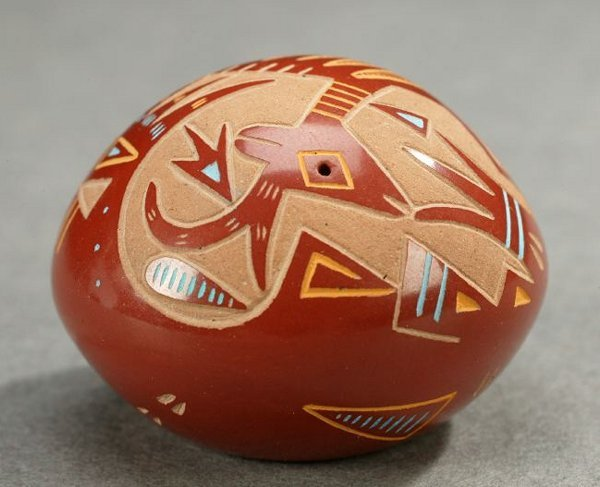 10: AN AMERICAN MINIATURE CARVED RED POTTERY GEM, Proba