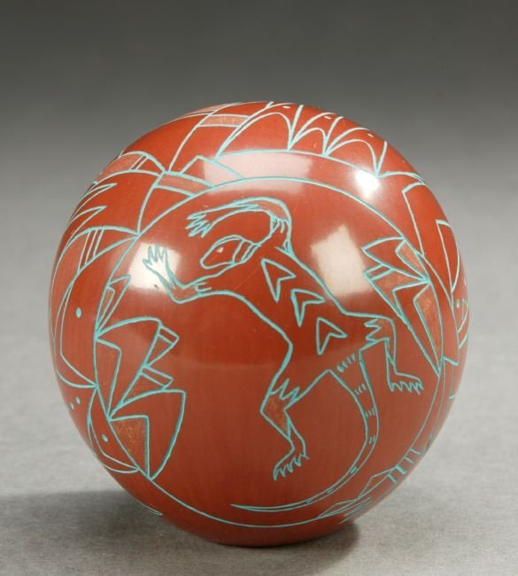 11: A NATIVE AMERICAN MINIATURE RED POTTERY INVERTED PO
