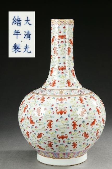 271: A CHINESE FAMILLE ROSE PORCELAIN BOTTLE VASE, Guan
