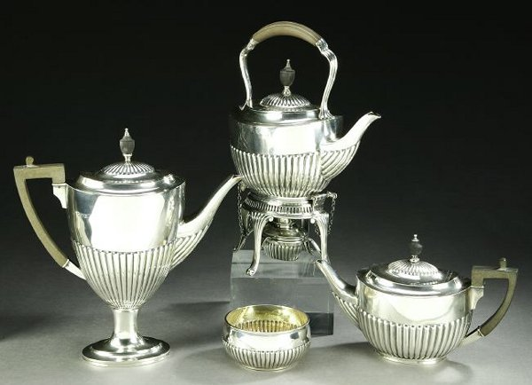 750: AN ASSEMBLED GEORGIAN STYLE SILVER TEA AND COFFEE