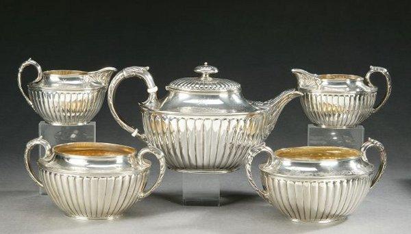 753: A VICTORIAN STERLING FIVE-PIECE TEA SERVICE, Londo