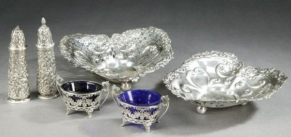 757: SIX PIECES AMERICAN AND ENGLISH SILVER HOLLOWARE,