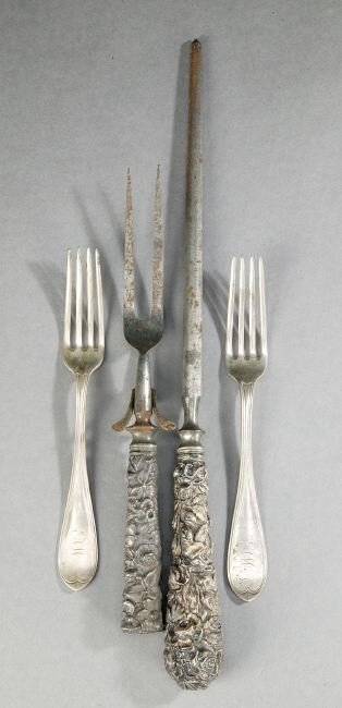 759: TWELVE COIN SILVER FORKS, probably American, early