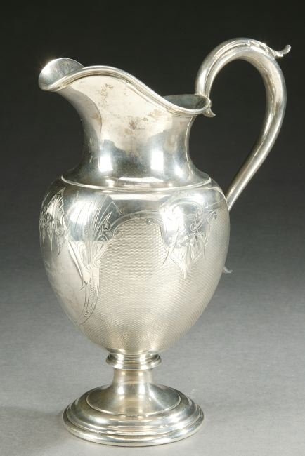 760: AN AMERICAN COIN SILVER PITCHER, Mid 19th century,