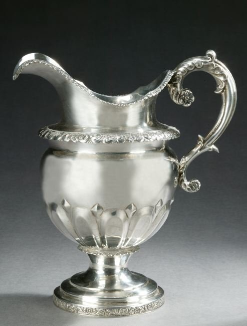 764: AN AMERICAN COIN SILVER WATER PITCHER, by William