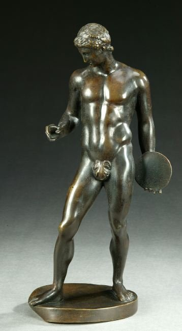 903: BRONZE FIGURE OF A DISCUS THROWER, early 20th cent