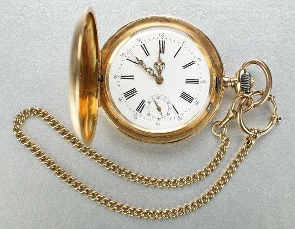 1260: A GENTLEMAN'S 18K YELLOW GOLD HNUTER-CASE POCKETW