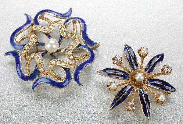 1265: TWO 14K YELLOW GOLD, BLUE ENAMEL AND PEARL BROOCH