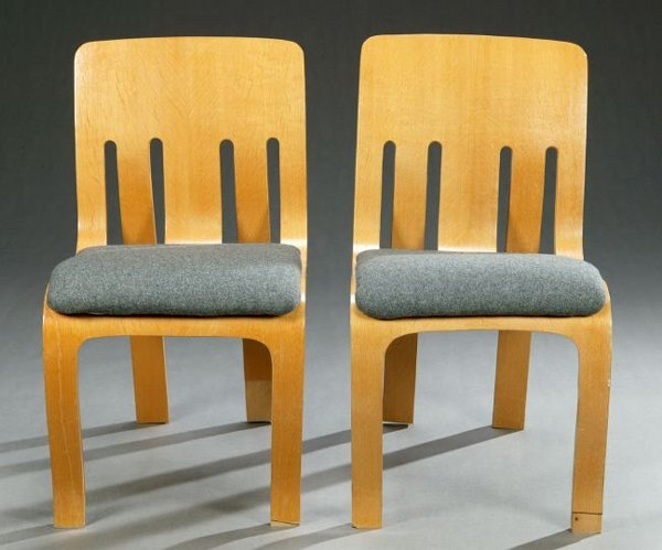 1439: FOUR PETER DANKO LAMINATED PLYWOOD SIDE CHAIRS, A