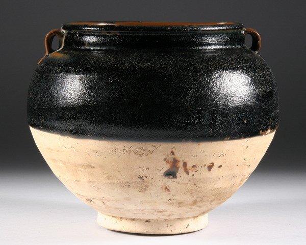 4: CHINESE BLACK GLAZED STONEWARE JAR, Song dynasty. -