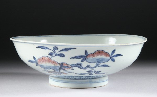 16: CHINESE COPPER RED AND BLUE PORCELAIN BOWL, Qianlon