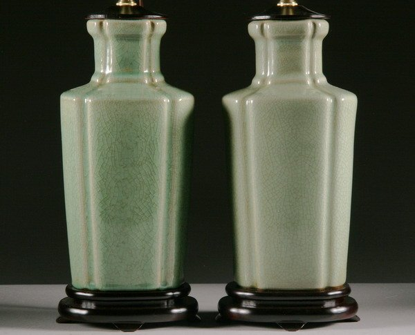 19: PAIR CHINESE CELADON PORCELAIN VASES. - 12 in. high