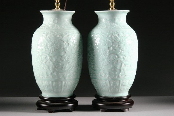 22: PAIR CHINESE CELADON PORCELAIN VASES, - 12 1/2 in.