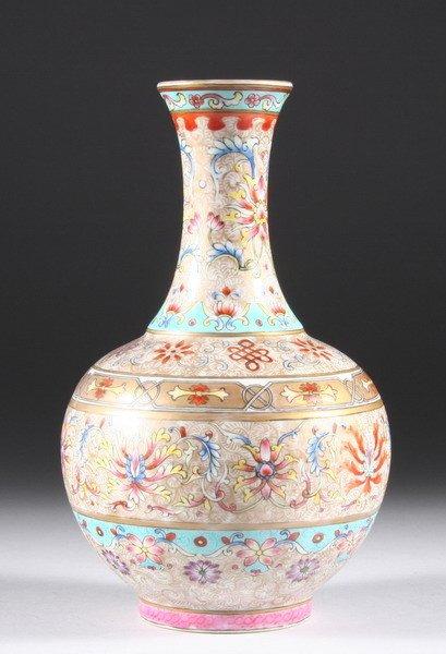 111: CHINESE FAMILLE ROSE PORCELAIN VASE, Jiaqing iron