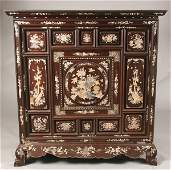 266: CHINESE MOTHER-OF-PEARL INLAID WOOD CABINET, late