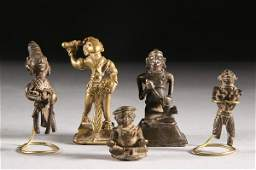 352: FIVE INDIAN BRONZE FIGURES, 19th century and earli