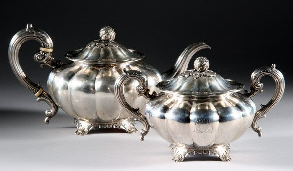 386: BRITISH COLONIAL SILVER TEAPOT AND COVERED SUGAR.