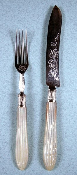 387: VICTORIAN SILVER AND MOTHER-OF-PEARL FRUIT SERVICE