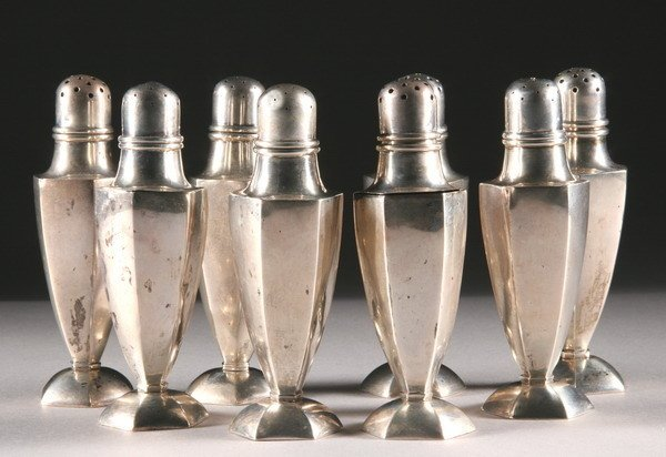 393: EIGHT CHINESE SILVER SALT AND PEPPER SHAKERS, 20th