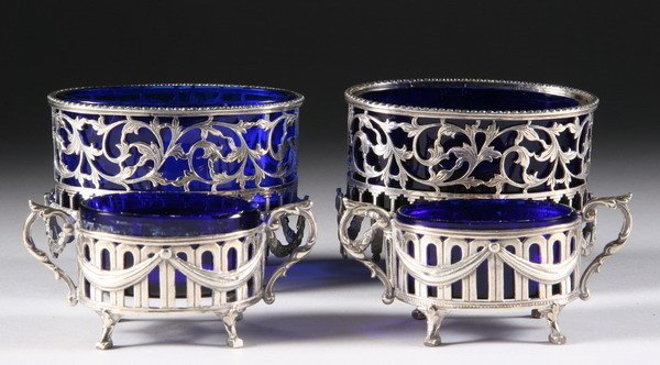 397: TWO PAIR CONTINENTAL SILVER OPEN SALTS. - 9 oz., 4