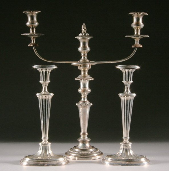 401: PAIR REGENCY STYLE SILVER PLATED CANDLESTICKS AND