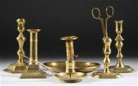 657 SIX ENGLISH BRASS LIGHTING DEVICES 18th century a