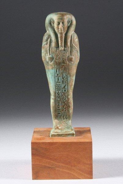 872: EGYPTIAN TURQUOISE FAIENCE USHABTI.
