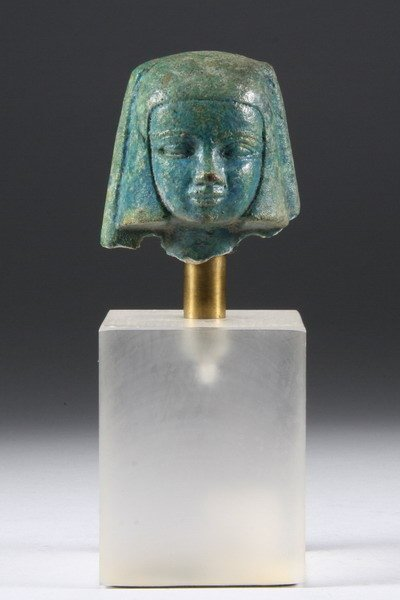 873: EGYPTIAN TURQUOISE FAIENCE HEAD OF WOMAN.