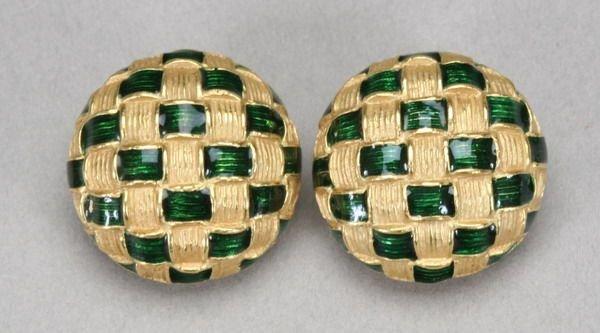 994: PAIR 14K YELLOW GOLD AND GREEN ENAMEL BASKET-WEAVE
