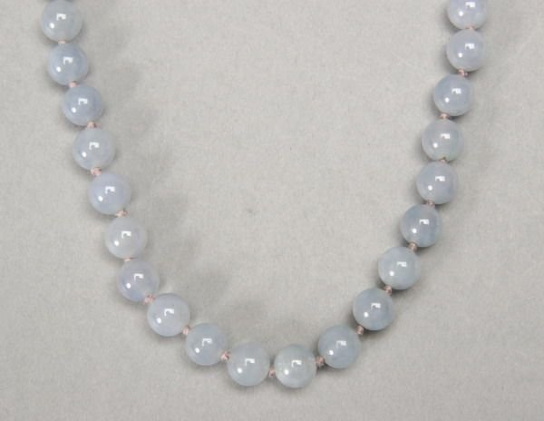 998: JADE BEAD NECKLACE, SIGNED GUMPS.
