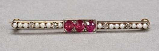 1032: EDWARDIAN PLATINUM-ON-18K YELLOW GOLD, RUBY AND D