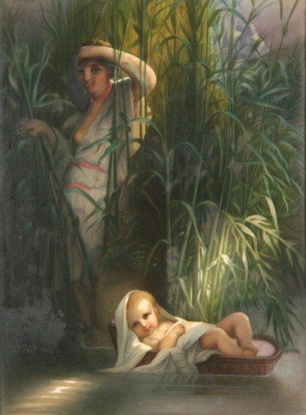 1081: CONTINENTAL PAINTED PORCELAIN PLAQUE, circa 1890,
