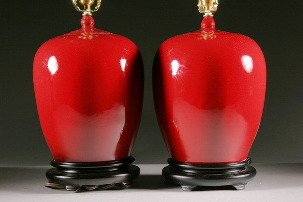 1: PAIR CHINESE COPPER RED PORCELAIN JARS AND COVERS. -