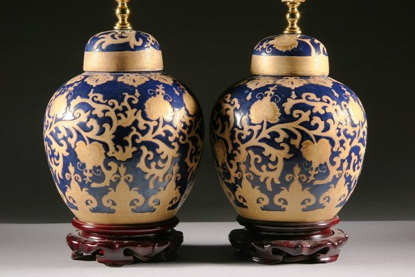 2: PAIR CHINESE BLUE AND GILT PORCELAIN JARS AND COVERS