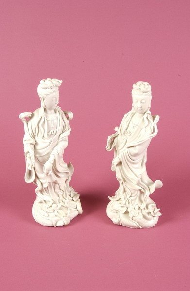 3A: PAIR OF CHINESE BLANC-DE-CHINE PORCELAIN FIGURES OF