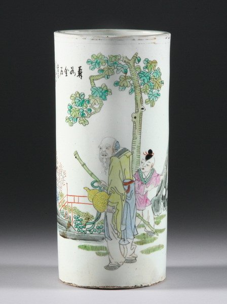 8: CHINESE ROSE CANTON PORCELAIN HAT STAND. - 11 1/2 in