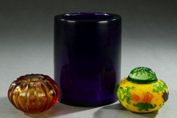 38: THREE PIECES OF CHINESE PEKING GLASS. - Largest: 6