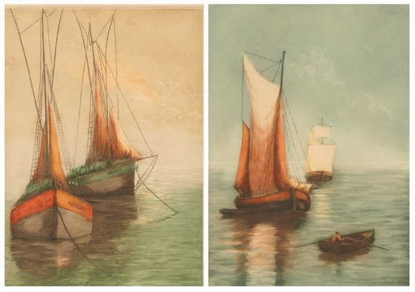 584: THREE HAND COLORED ETCHINGS, from Paris Etching So