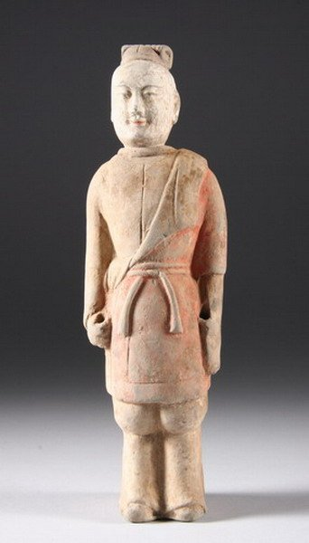 1: CHINESE EARTHENWARE FIGURE OF STANDING SOLDIER, Nort