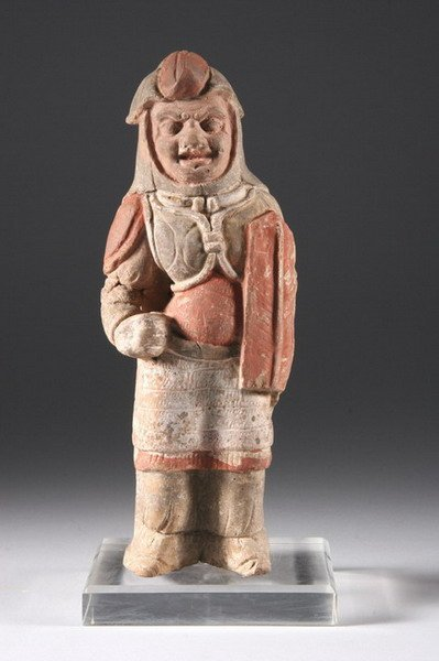 18: CHINESE POLYCHROME EARTHENWARE FIGURE OF WARRIOR, M