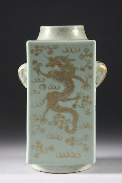 23: CHINESE CELADON AND GILT CONG VASE, Xuantong six ch