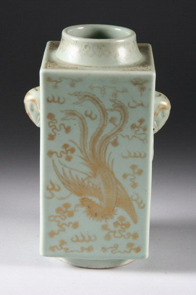 23: CHINESE CELADON AND GILT CONG VASE, Xuantong six ch - 2