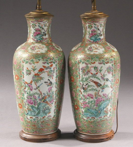 219: PAIR CHINESE ROSE CANTON PORCELAIN VASES. - 18 in.