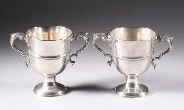 517: PAIR GEORGE III IRISH SILVER CUPS. By Matthew West