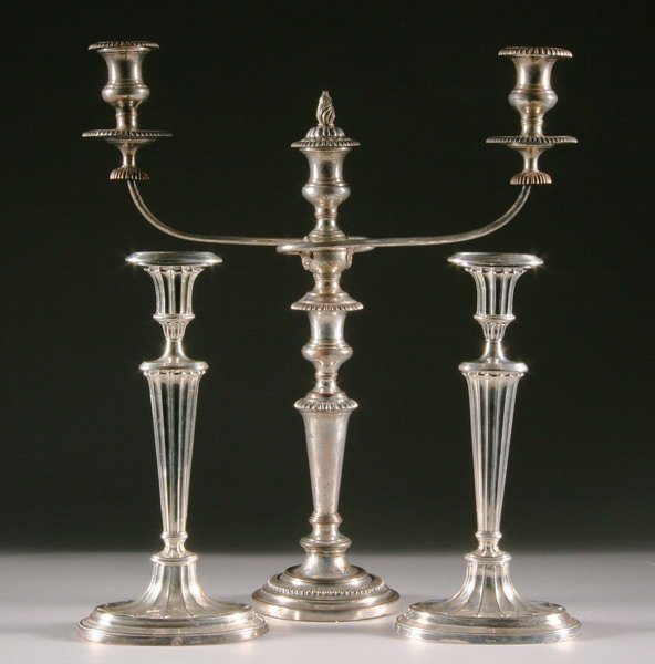 531: PAIR REGENCY-STYLE SILVERPLATED CANDLESTICKS AND V