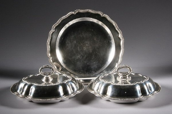 532: TWO SHEFFIELD PLATE COVERED VEGETABLE DISHES AND A