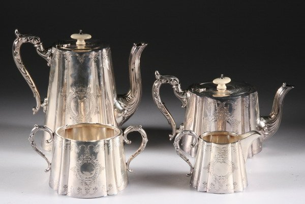 536: FOUR-PIECE SILVERPLATED COFFEE SERVICE, Mid-to-lat